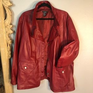 Spicy RED Leather Cami Jacket! Gorgeous, Excellent